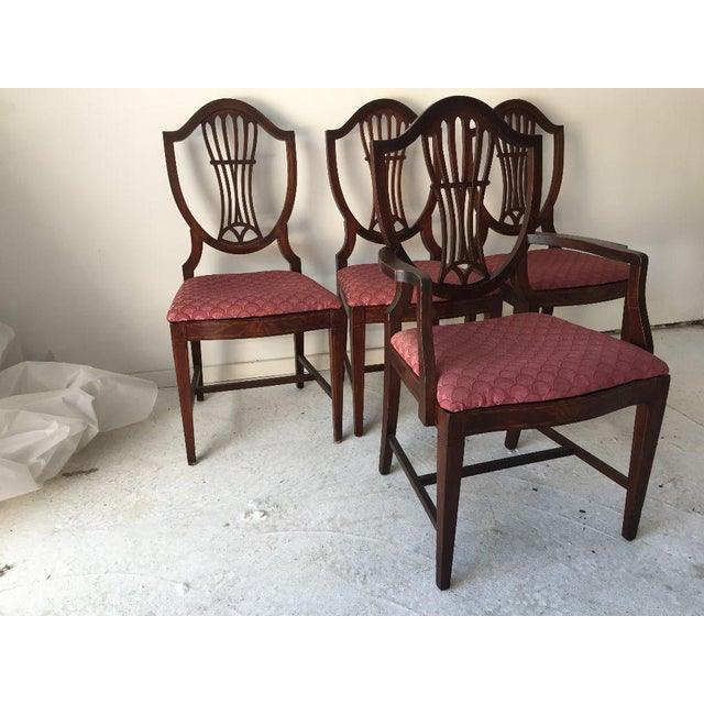 Shield Back Dining Room Chairs: Vintage Sheraton Shield-Back Flame Mahogany Dining Chairs
