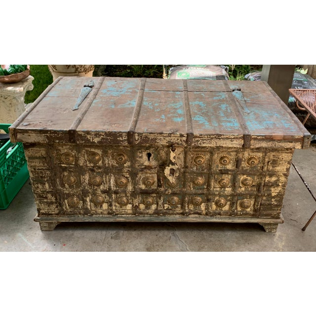"""Vintage Antique Turquoise Teak & Brass Trunk Coffee Table w Storage 43"""" long x 20"""" wide x 20.25"""" tall. Raise lid for full..."""