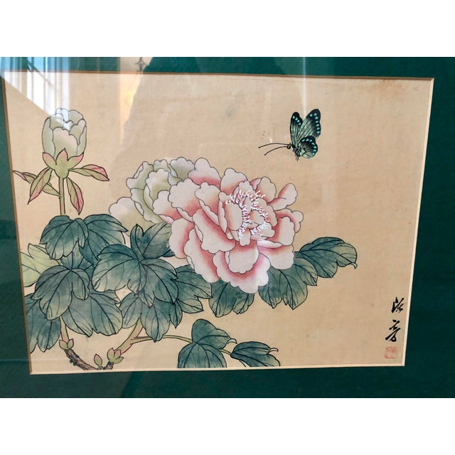 1940s 1940s Vintage Chinese Floral Watercolor Paintings - A Pair For Sale - Image 5 of 11