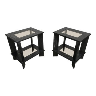 1980s Mid-Century Modern Cerused Oak Side Tables - a Pair For Sale