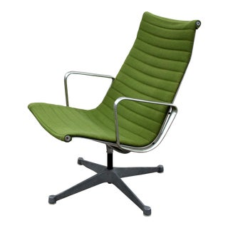 1980s Eames Herman Miller Green Aluminum Group Lounge Chair For Sale
