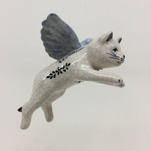 Hand Painted Artisan Ceramic Flying Cat Ornament For Sale - Image 4 of 11