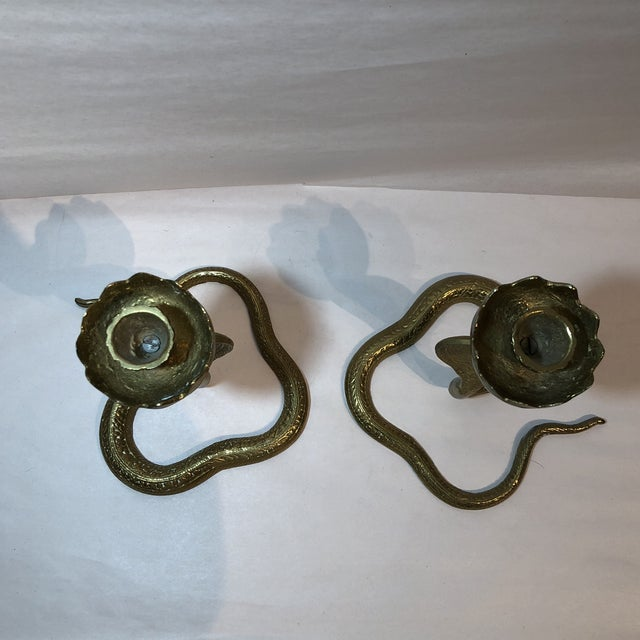 Brass King Cobra Candle Holders - a Pair For Sale - Image 4 of 11