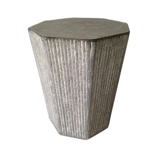 Contemporary Cerused Octagonal Accent Table For Sale - Image 3 of 3