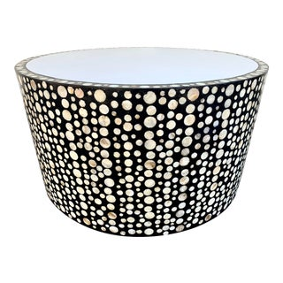Shell Inlay Drum Coffee Table For Sale