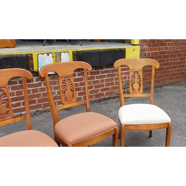 Ethan Allen Legacy Collection Maple Table W/ Wrought Iron Base & 4 Side Chairs C1990s For Sale - Image 12 of 13