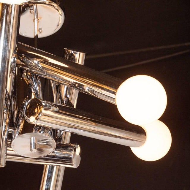 Gaetano Sciolari Mid-Century Modern Sculptural Chrome and Frosted Glass Chandelier by Sciolari For Sale - Image 4 of 8