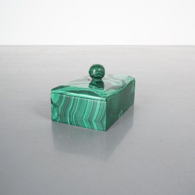 Mid-Century Modern Midcentury Malachite Stone Box, Belgium For Sale - Image 3 of 7