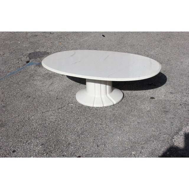 French Modern White Resin Oval Coffee Table For Sale - Image 9 of 13