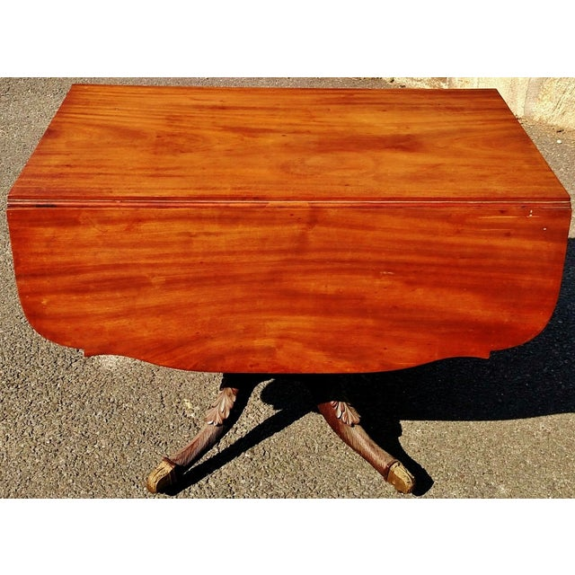 Americana Have one to sell? Sell now Details about Large Antique ENGLISH 19th C Mahogany DROP LEAF Carved Base Sofa Center TABLE For Sale - Image 3 of 8