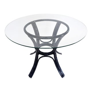 Bamboo Glass-Top Table For Sale