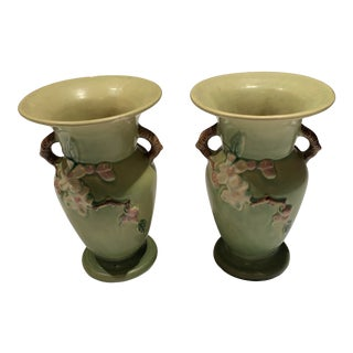 1940s Roseville Art Pottery Vases - a Pair For Sale