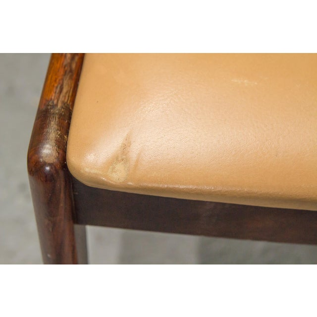 1960s Vintage Danish Modern Rosewood & Leather Dining Chairs- Set of 4 For Sale - Image 10 of 13