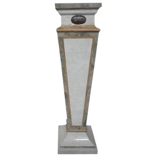 1970's Maitland-Smith Art Deco Style Tessellated Travertine and Marble Pedestal For Sale