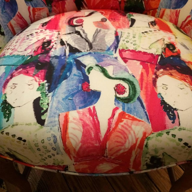Oly Silkscreened Armchairs - Pair - Image 3 of 5