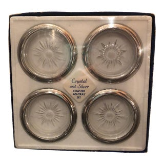 Italian Silver and Cut Crystal Coasters - Set of 4