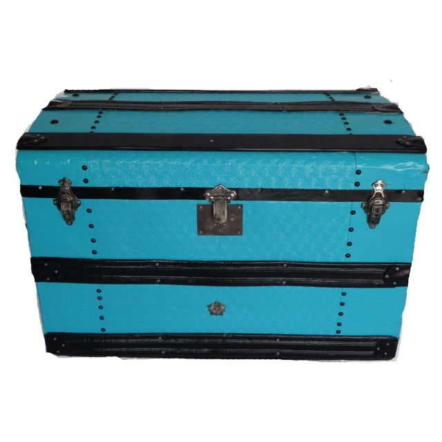 Boho Chic Metal Covered Turquoise Antique Curve Top Trunk For Sale - Image 3 of 5