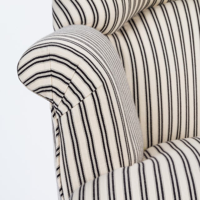 Not Yet Made - Made To Order Casa Cosima Napoleon III Chair in Black and Ivory Ticking, a Pair For Sale - Image 5 of 8