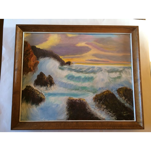 Marie Ryan's work is a beauiful sunrise or sunset viewed from the beach or buff. You can imagine the waves crashing on the...