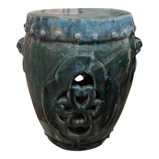 1960s Chinese Distressed Turquoise Green Glazed Garden Stool