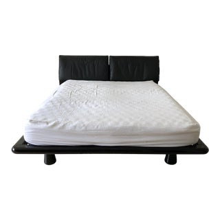 Maurice Villency Wood Leather Platform Queen Bed For Sale