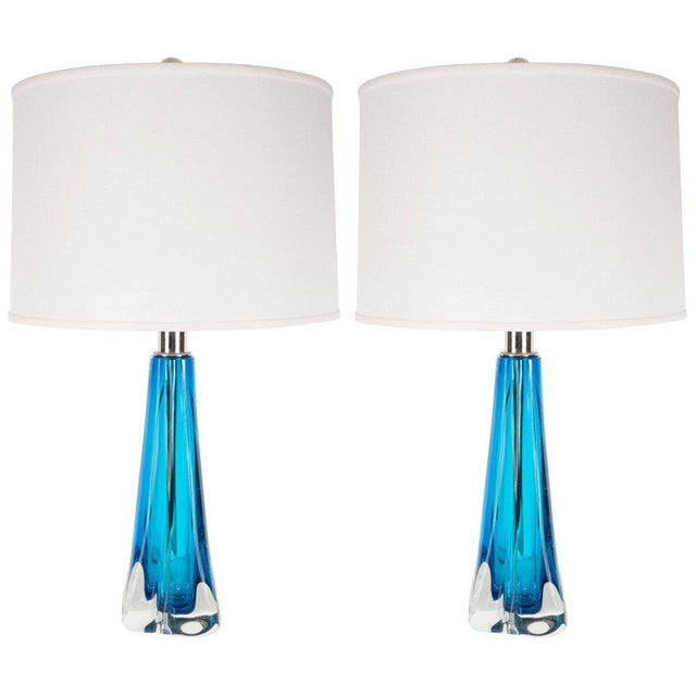 Pair of Modernist Handblown Murano Pale Sapphire & Translucent Glass Table Lamps For Sale - Image 9 of 9