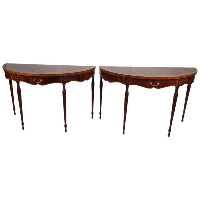 1990s English Traditional Maitland Smith Demi-Lune Console Tables - a Pair For Sale