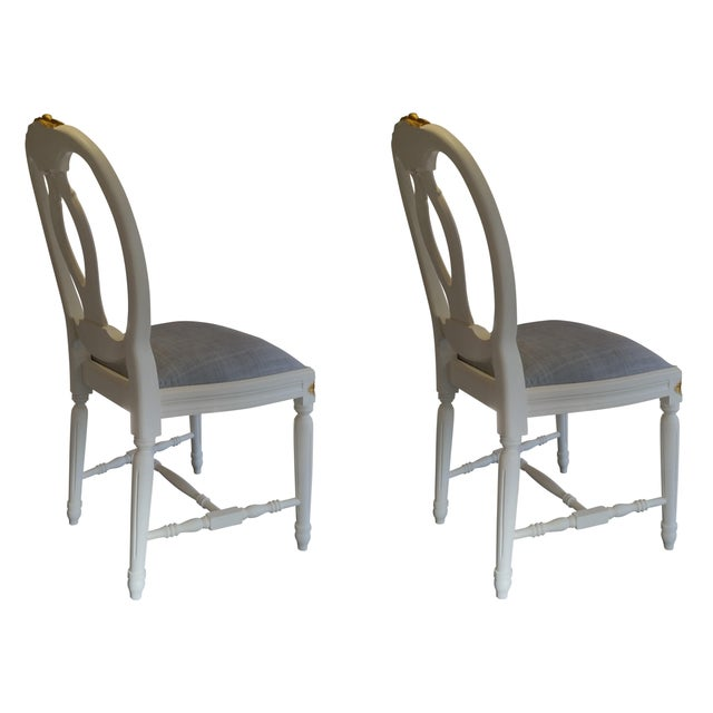 Carved Rose Gustavian Chairs With Gold - Pair For Sale - Image 4 of 11