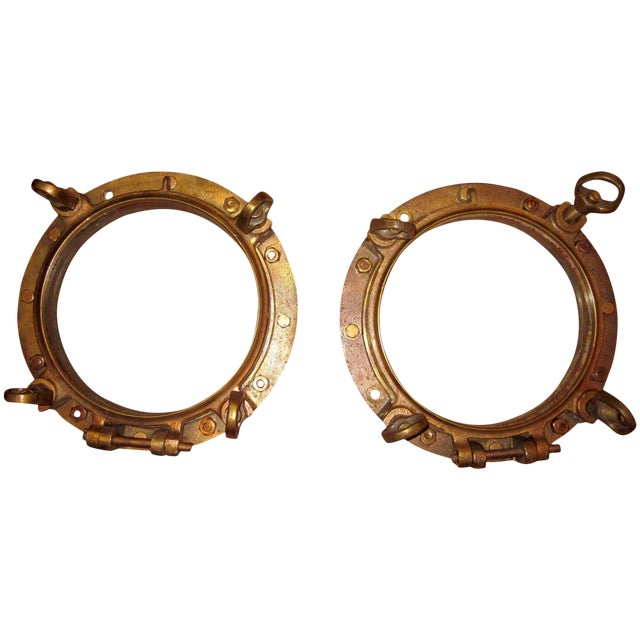 1910s Nautical Brass Maritime Portholes - a Pair For Sale