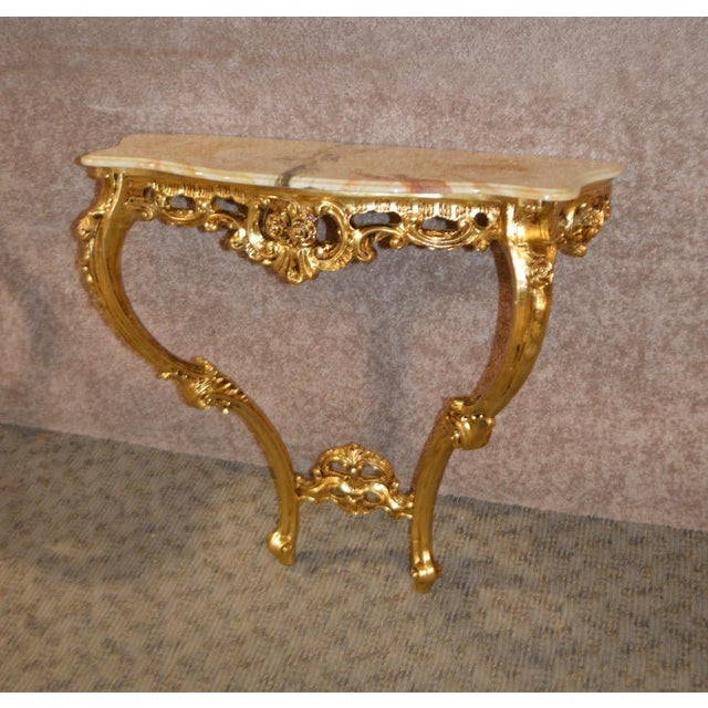 Carved French Style Marble Top Console Table - Image 6 of 11