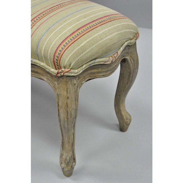Early 21st Century French Country Louis XV Style Long Wooden Upholstered Bench For Sale - Image 5 of 10