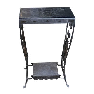 Marble Top Wrought Iron Table For Sale