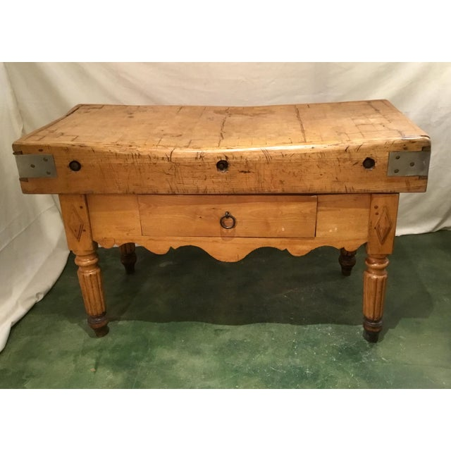19th C. French Carved Butcher Block Table For Sale - Image 13 of 13