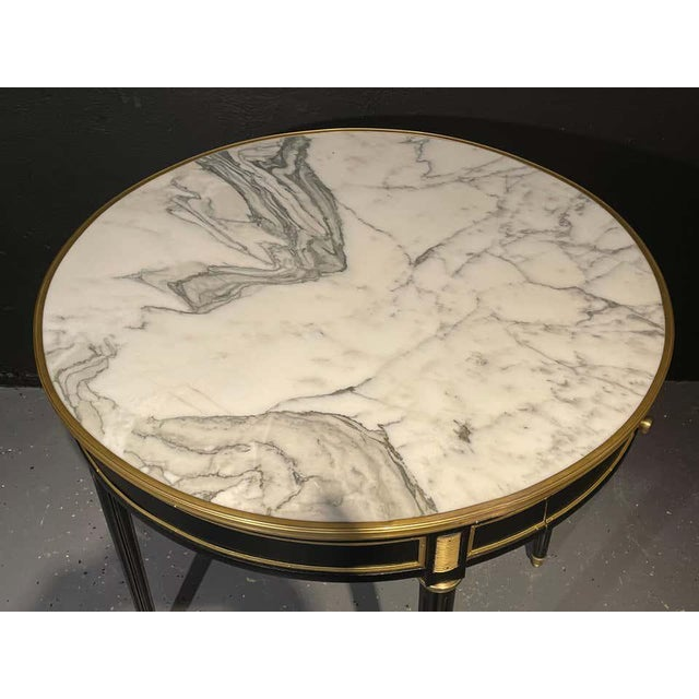 Pair of Maison Jansen Style Bouillotte or End Tables, Ebony Bronze Marble Top For Sale - Image 12 of 13