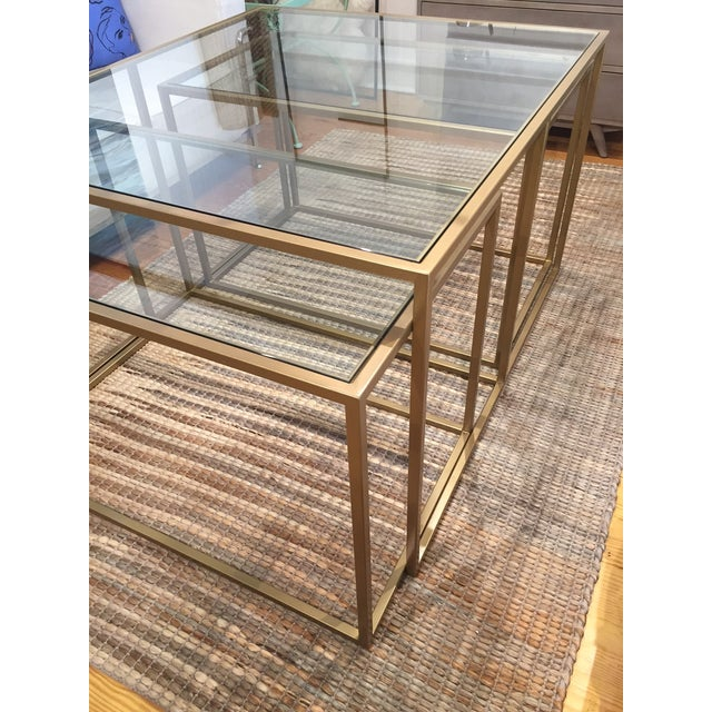 Nesting Metal Glass Top Cocktail Tables - Set of 3 - Image 4 of 4