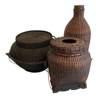 Vintage Asian Reed Fishing Baskets - Set of 3 For Sale