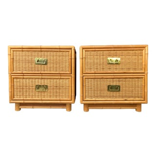 Coastal Style Bamboo/Rattan Nightstands For Sale