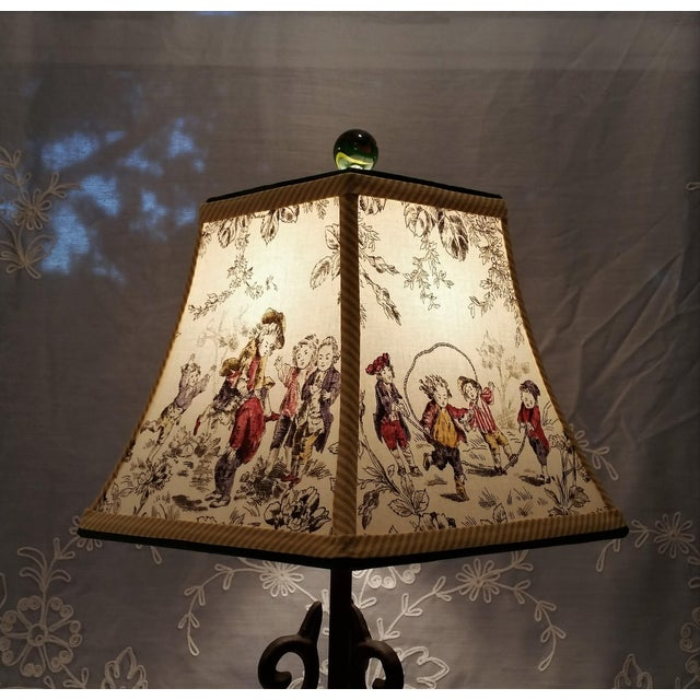 Toile Lampshade French Country Square Bell For Sale - Image 9 of 11
