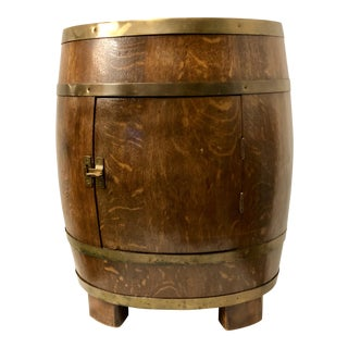 1920s English Oak Barrel Bar