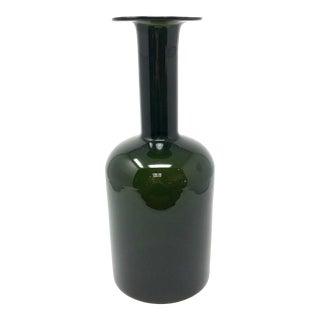 Vintage Large Green Kastrup Glas Denmark Glass Vase For Sale
