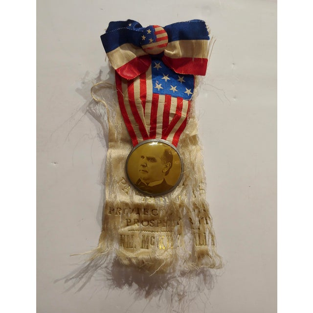 William McKinley 1896 Us Presidential Campaign Lapel Button W/Ribbon For Sale In Los Angeles - Image 6 of 6
