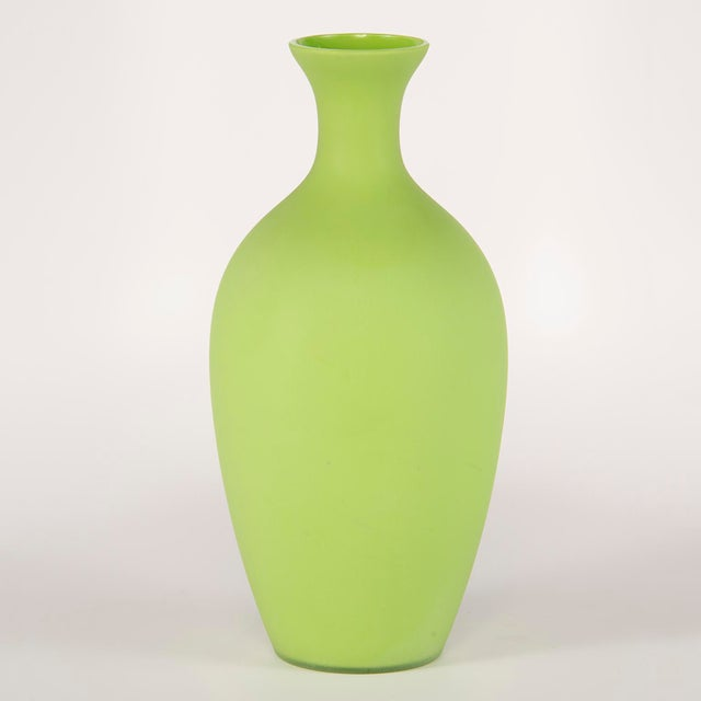 Green Tall Mid Century Cenedese Murano Glass Green Vase For Sale - Image 8 of 8