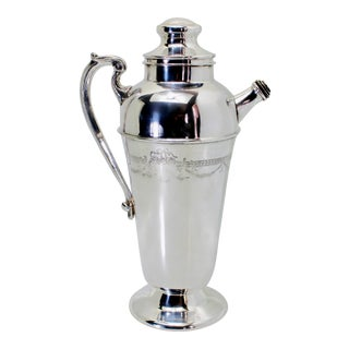 Art Deco English Style Silver Plated Cocktail Martini Shaker For Sale