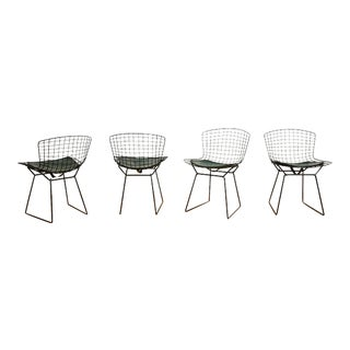 1970s Harry Bertoia for Knoll Wire Side Chairs With Forest Green Leather Pads - Set of 4