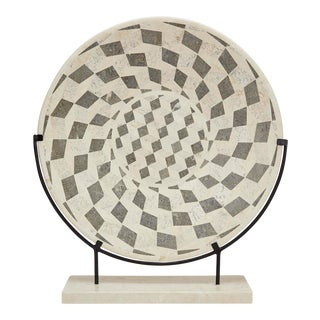 """1990s Contemporary Marquis Collection Tessellated Stone """"Illusion"""" Plate on Iron Stand"""