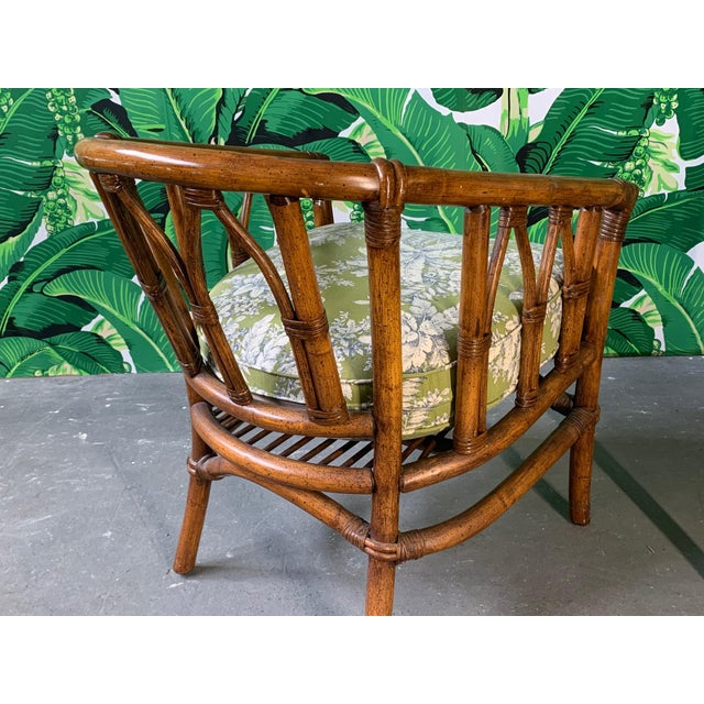 Pair of Bamboo Club Chairs in the Style of McGuire For Sale - Image 6 of 12