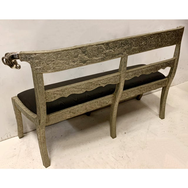 English Anglo-Indian Silver Repousse Bench or Settee For Sale - Image 3 of 6