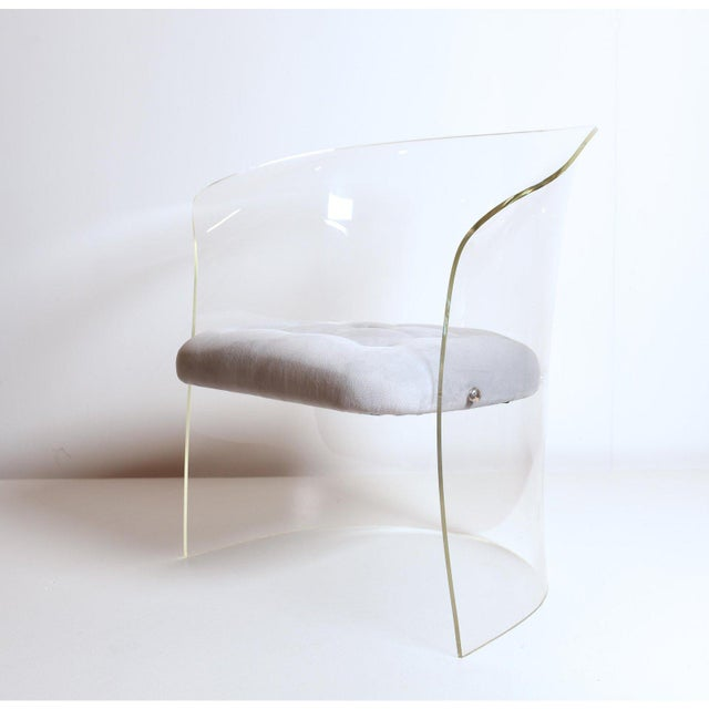 1960s Formed Lucite Chair With Tufted Seat, Pair Available For Sale - Image 9 of 12