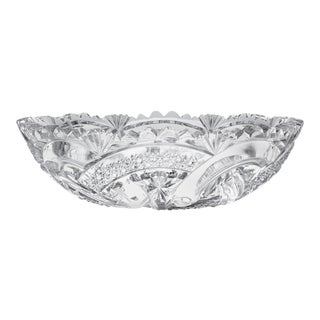 Wedding Ring Cut Glass Bowl by Hoare For Sale