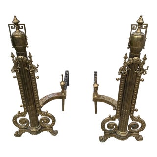 Greek Key Brass Andirons - a Pair For Sale